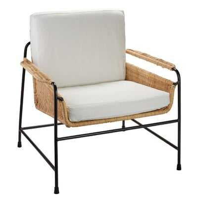 Baltz Lounge Chair In Natural Rattan & Black Steel With Off White Cushions - Wayfair