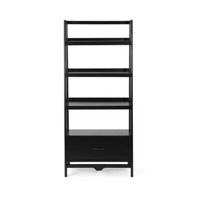 Noble House Brantly Mid-Century Modern Black Faux Wood and Pine Shelf with Drawer - Home Depot