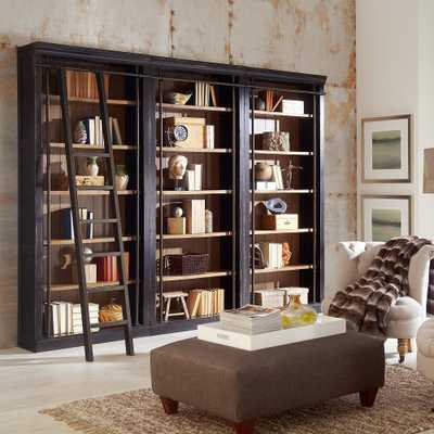 "Toulouse 120"" Wide Ebony 6-Shelf Library Bookcase Wall - Style # 9X924 - Lamps Plus"