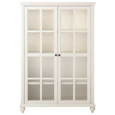 Hamilton 60 in. H Polar White Glass Door Bookcase - Home Depot
