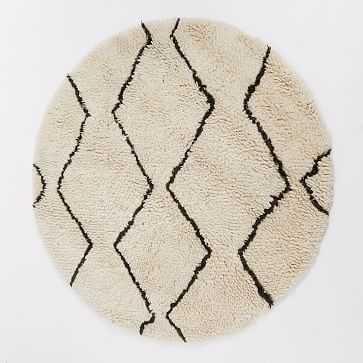 Souk Wool Rug, 6' Round, Graphite - West Elm