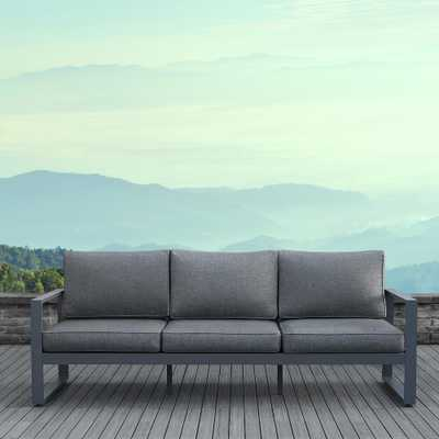 Real Flame Baltic Gray Aluminum Outdoor Sofa with Gray Cushions - Home Depot