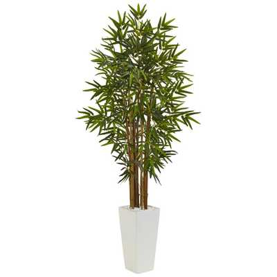 """60"""" Bamboo Artificial Tree in White Tower Planter - Home Depot"""