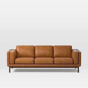 """Dekalb 96"""" Sofa, Stetson Leather, Cognac, Acorn - West Elm"""