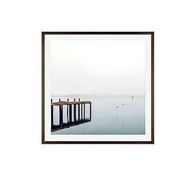 "Foggy Pier Framed Print by Cindy Taylor, 25x25"", Wood Gallery Frame, Espresso, Mat - Pottery Barn"