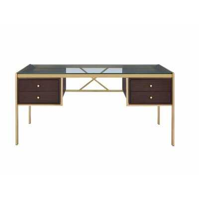 Clear Glass Top Desk With 4 Wooden Drawers In Gold Finish - Wayfair