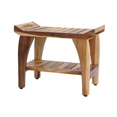 EcoDecors EarthyTeak Tranquility 24 in. Teak Shower Bench with Shelf, Natural - Home Depot
