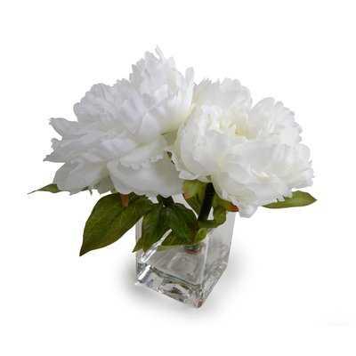 Silk Peonie Floral Arrangement and Centerpiece in Vase - Birch Lane