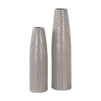 Gray 2 Piece Vase Set - Wayfair