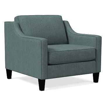 Paidge Armchair, Basket Slub, Blue Stone, Taper Chocolate, Poly - West Elm