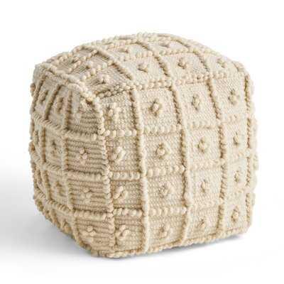 Juanita Boho Wool and Cotton Ottoman Pouf - Wayfair