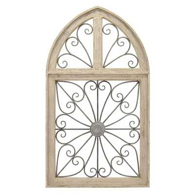 Metal/Wood Wall Art Finished in White - 28 X 1.5 X 48.75 - Home Depot