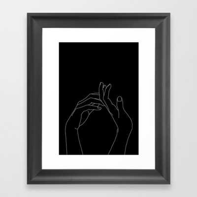 """Hands Line Drawing Illustration - Abi Black Framed Art Print - Scoop Black Mini 10"""" x 12"""" by Thecolourstudy - Society6"""