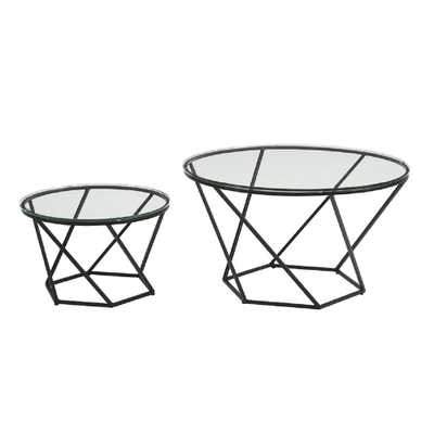 Geometric Glass Nesting Coffee Tables in Black, Black/Clear - Home Depot