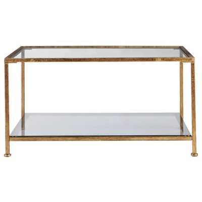 Bella Aged Gold Square Glass Coffee Table - Home Depot