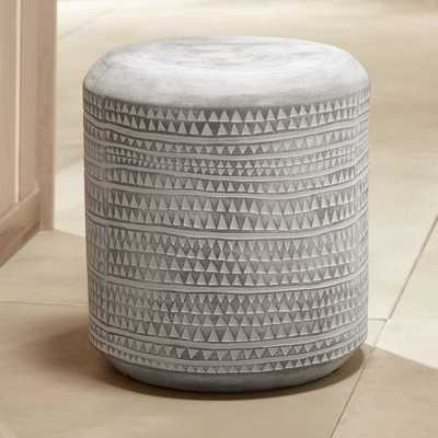 Grey Embossed Stool-Side Table - CB2