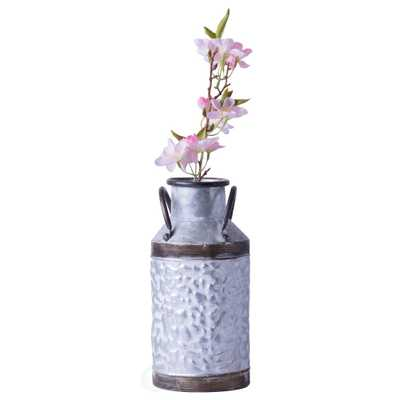 Vintiquewise Small Rustic Farmhouse Style Galvanized Metal Milk Can Decoration Planter and Vase - Home Depot