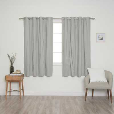 Best Home Fashion Grey Solid Cotton Blackout Thermal Grommet Curtain Panel Set - 52 in. x 63 in. (2-Panels), Gray - Home Depot