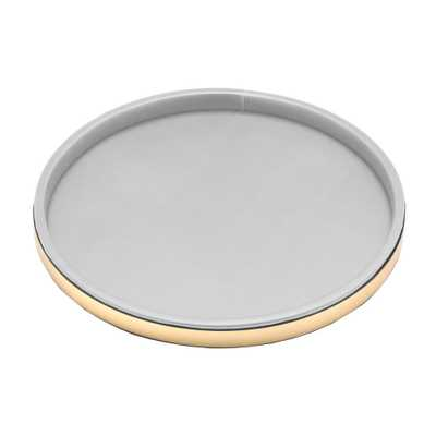 Sophisticates 14 in. Round Serving Tray in White and Polished Brass - Home Depot