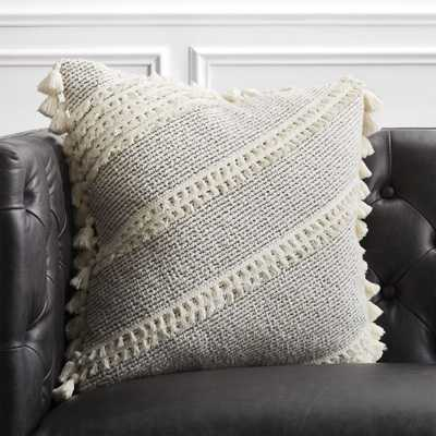 "18"" Liana White Tassel Pillow with Down-Alternative Insert - CB2"
