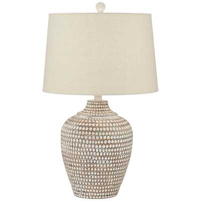 Alese Neutral Earth Polka Dot Jug Table Lamp - Lamps Plus