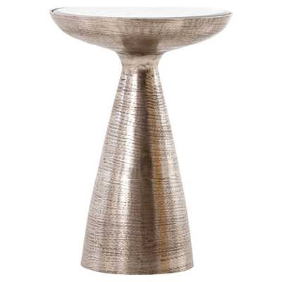 Lupe Global Bazaar Brushed Nickel Ash Glass Pedestal Side Table - Kathy Kuo Home