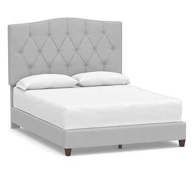 Elliot Upholstered Bed, King, Brushed Crossweave Light Gray - Pottery Barn