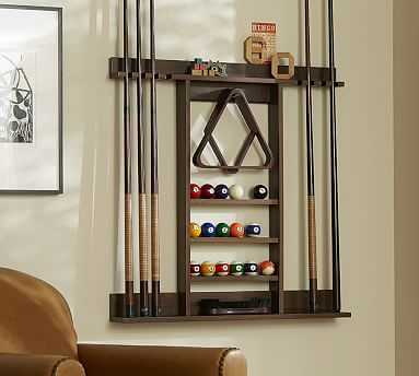 Cue Stick Wall Mount Storage Rack, Rustic Mahogany Stain - Pottery Barn