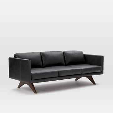 "Brooklyn 81"" Sofa, Charme Leather, Licorice - West Elm"