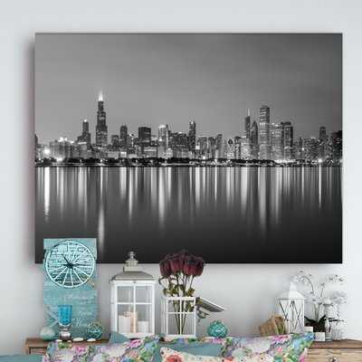 Cityscape 'Chicago Skyline at Night Black and White' Photograph - Wayfair