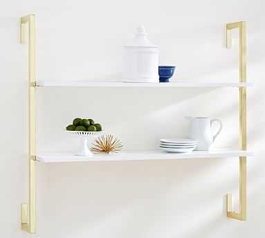 Olivia 2-Tiered Shelf, White/Gold - Pottery Barn