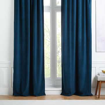 "Worn Velvet Curtain, Regal Blue, 48""x96"" (unlined)-Individual - West Elm"