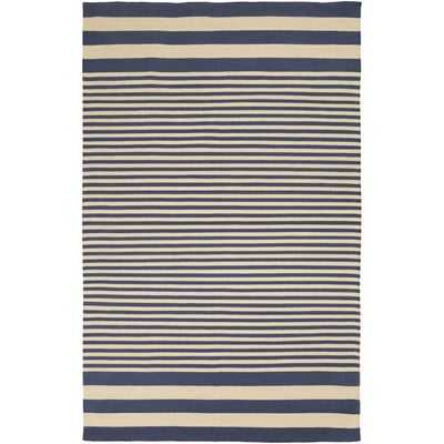Kinslee Beige/Navy Stripe Area Rug 8' x 11' - Wayfair
