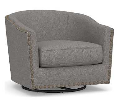 Harlow Upholstered Swivel Armchair, Polyester Wrapped Cushions, Performance Chateau Basketweave Blue - Pottery Barn