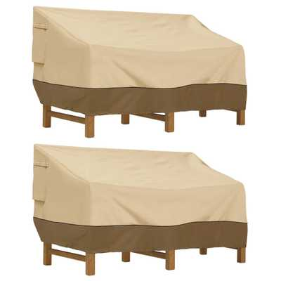 Classic Accessories Veranda 90 in. L x 42 in. W x 34 in. H Deep Seated Patio Sofa/Loveseat Cover (2-Pack), Pebble/Brown/Earth - Home Depot