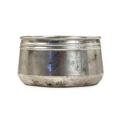 Zentique Large Distressed Metallic Can-shaped Bowl, Distressed Silver - Home Depot