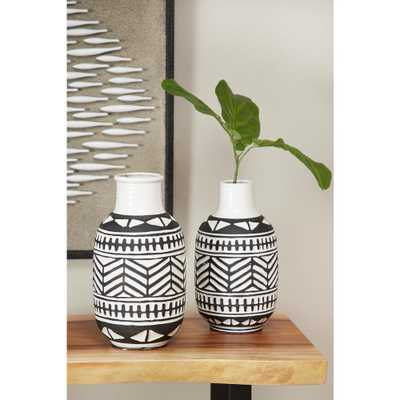 Litton Lane 15 in. Round Waterproof Black and White Ceramic Decorative Vase with Eclectic Geometric Pattern - Home Depot