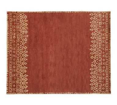 Desa Bordered Wool Rug, 5x8', Terra Cotta - Pottery Barn