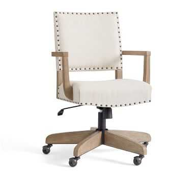 Manchester Upholstered Swivel Desk Chair, Gray Wash Frame, Basketweave Slub Ivory - Pottery Barn