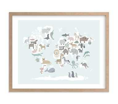 Wild World Map Wall Art by Minted(R)  Natural 24x18 - Pottery Barn Kids