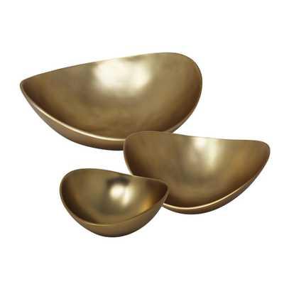 Sagebrook Home Matte Gold Aluminum Bowls (Set of 3) - Home Depot