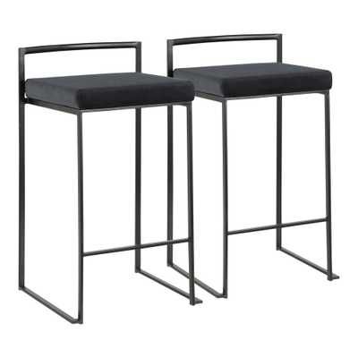 Lumisource Fuji 26 in. Black Stackable Counter Stool with Black Velvet Cushion (Set of 2), Black Velvet/Black - Home Depot