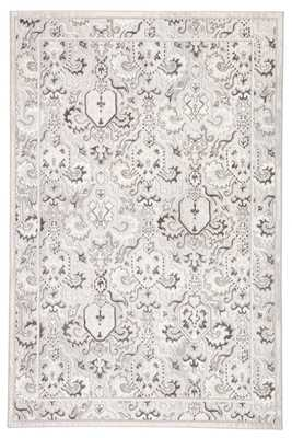 "Vins Damask White/ Gray Area Rug (7'6""X9'6"") - Collective Weavers"