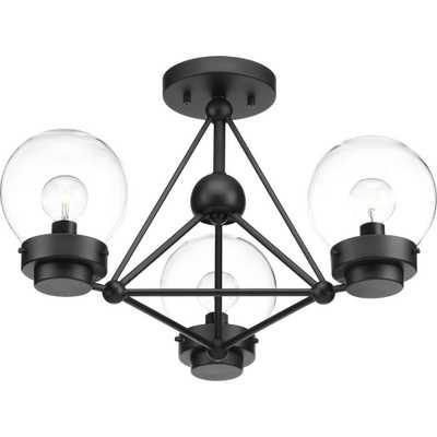Progress Lighting Spatial Collection 3-Light Black Semi-Flushmount - Home Depot