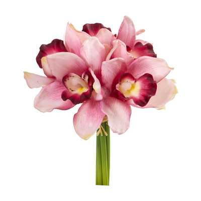 Nearly Natural Indoor 9 Cymbidium Orchid Artificial Flower Bundle (Set of 6) - Home Depot