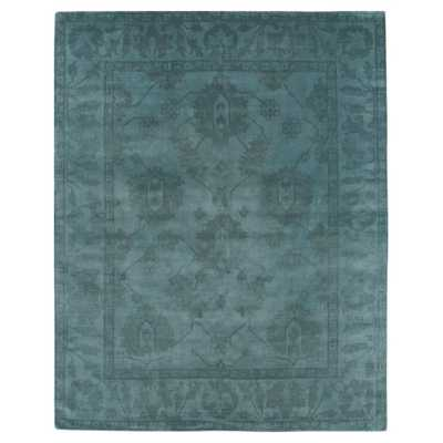 Exquisite Rugs Paoli Bazaar Overdyed Teal Blue Wool Rug - 8x10 - Kathy Kuo Home