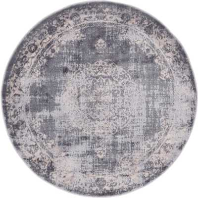 Unique Loom Leila Blackthorn Gray 6 ft. x 6 ft. Round Rug, Gray/Beige - Home Depot