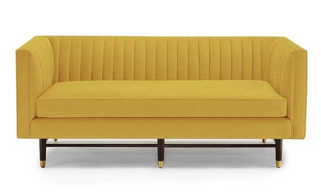 Yellow Chelsea Mid Century Modern Apartment Sofa - Royale Marigold - Coffee Bean - Joybird