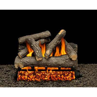 AmericanGas Dundee Oak 24 in. Vented Natural Gas Fireplace Log Set with Complete Kit, Match Lit - Home Depot
