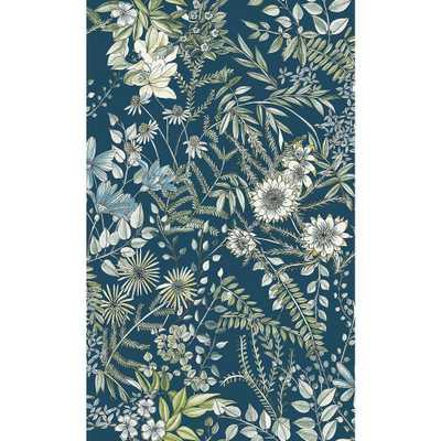 A-Street 56.4 sq. ft. Full Bloom Navy (Blue) Floral Wallpaper - Home Depot